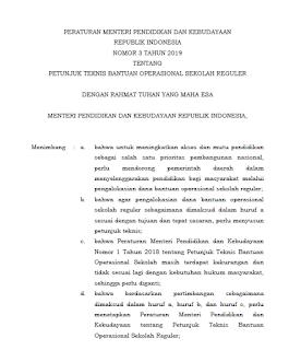 Permendikbud Nomor 3 Tahun 2019 tentang Juknis BOS Reguler