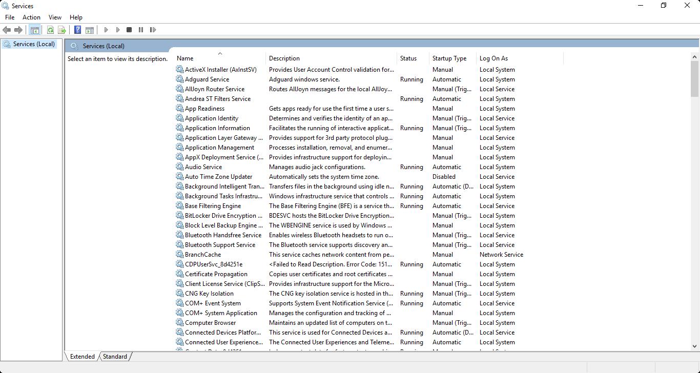 Các phương pháp cấu hình dịch vụ (services) của Windows