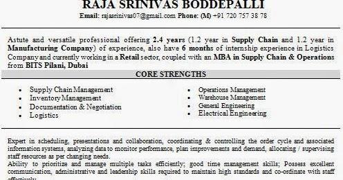 supply chain management mba resume