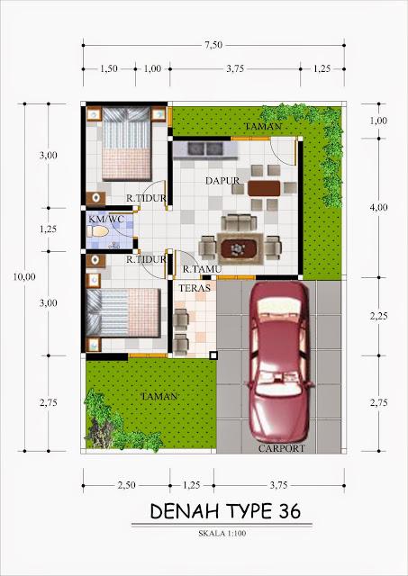 Denah Rumah Minimalis Sederhana Type 36-60