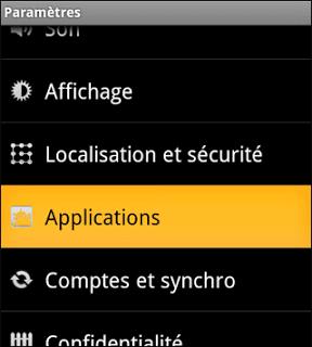 Menu paramètres Android ECLAIR-FROYO