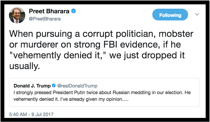 Tweet Preet Bharara 7.9.17 vehemently denied it. Private Citizen marchmatron.com
