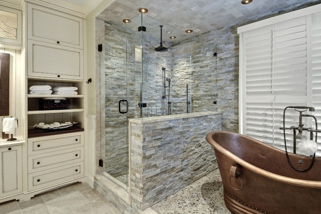 Innovative Modern Bathroom Designs With Stone Walls And