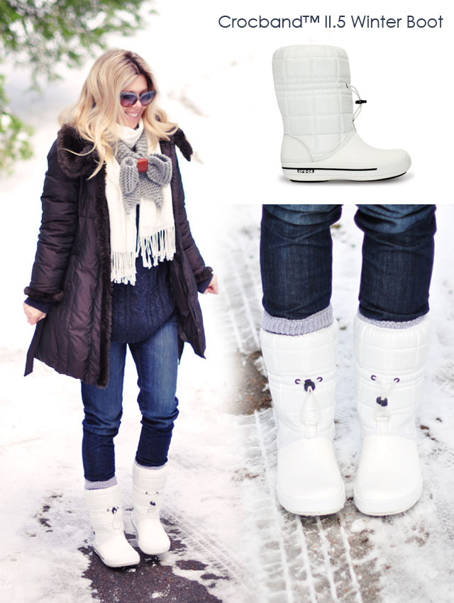 cute white snow boots, crocs moon boots