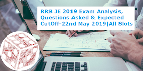 RRB JE 2019 Exam Analysis, Questions Asked & Expected CutOff: 22nd May 2019(All Shifts)