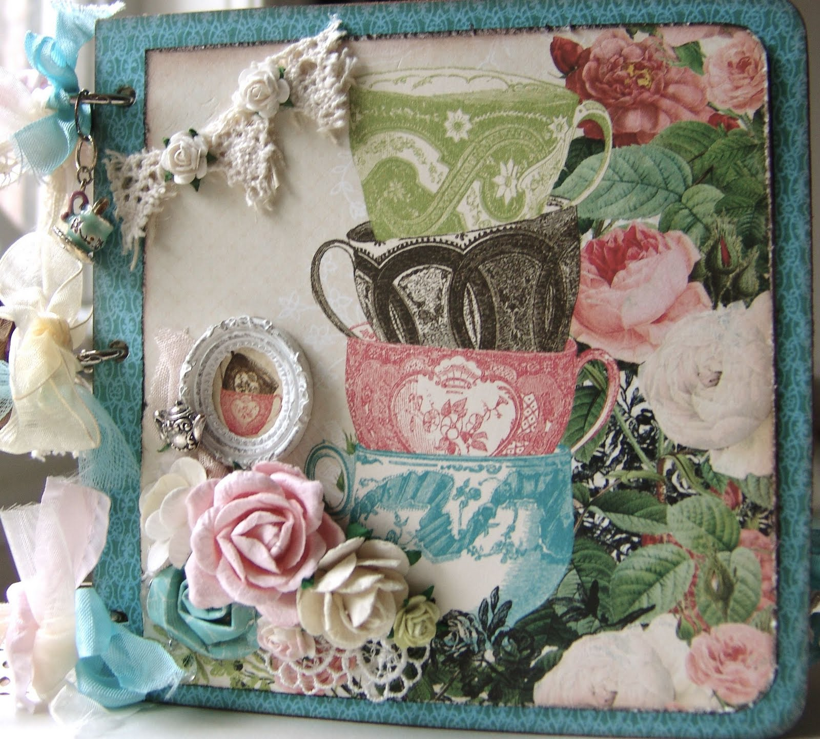 scrapn4mygirlz shabby chic tea time chipboard album. Black Bedroom Furniture Sets. Home Design Ideas