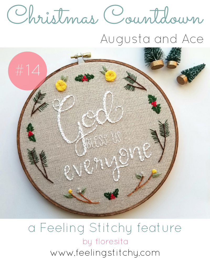 Christmas Countdown 14 - Augusta and Ace God Bless Us Everyone hoop featured on Feeling Stitchy by floresita
