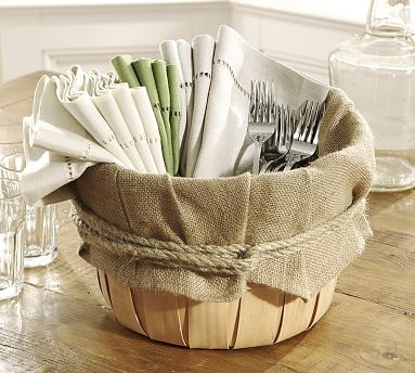 This easy burlap basket could hold so many things, from napkins and cutlery or flowers