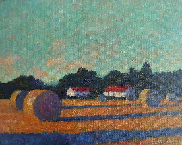 Daily landscape painting in oils on canvas panel of hayfield near Montreuil.