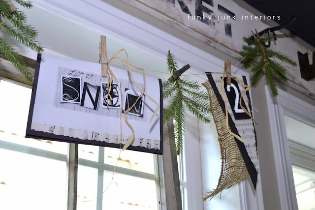 A natural Christmas garland window valance you can make in moments! https://www.funkyjunkinteriors.net/