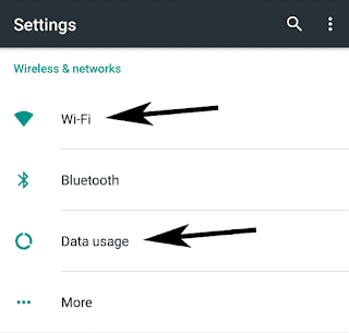 Wi-Fi and Data Usage in Settings