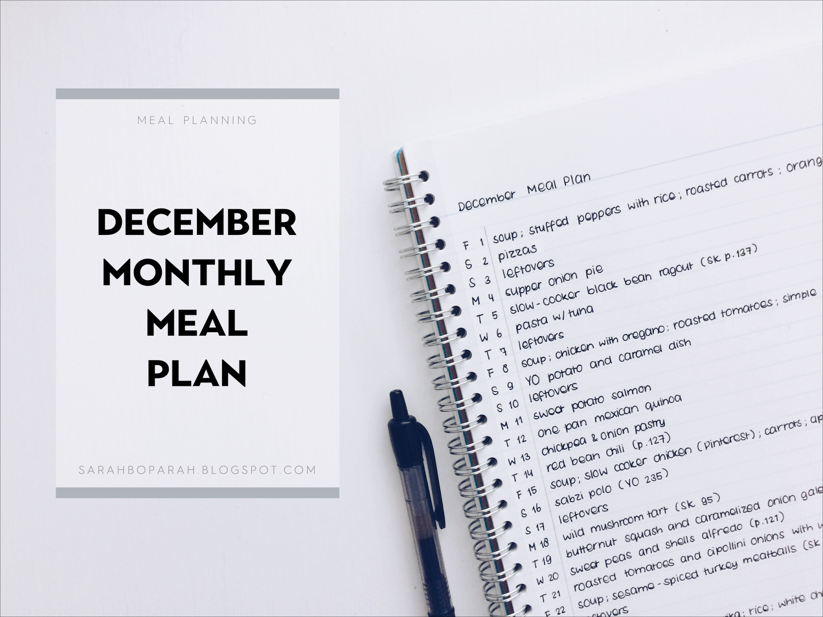 December Monthly Meal Plan from Sarahboparah.