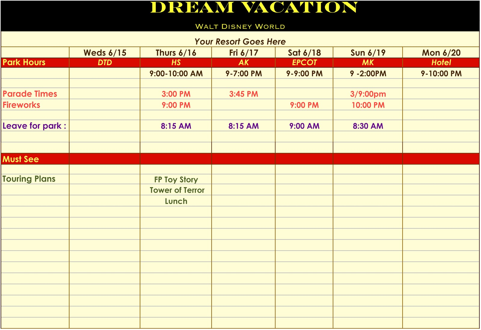 holiday itinerary planner template