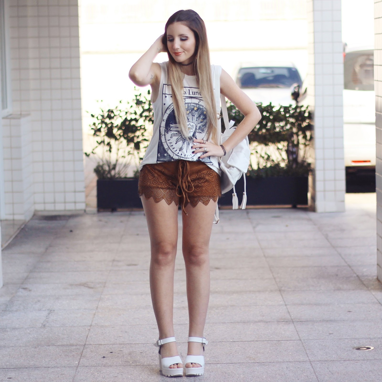 look do dia shorts marrom