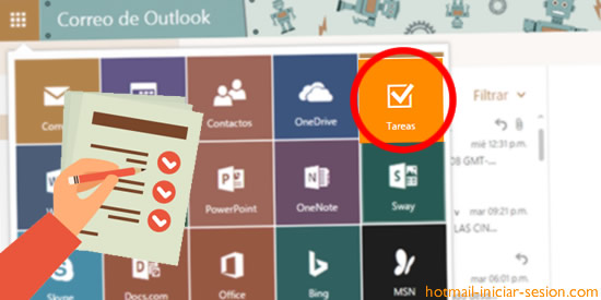 tareas dentro de hotmail - outlook