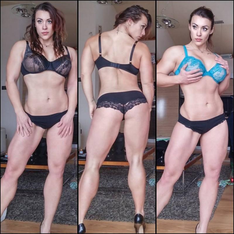 Gorgeous woman bodybuilder with big biceps Susanna Tirpak