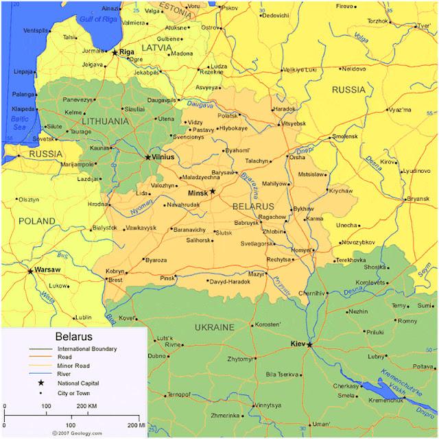 Gambar Peta wilayah Negara Belarus HD