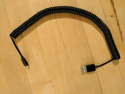 Spring Coiled USB 2.0 to Micro USB Data/Sync/Charger/Cable (3M, Black)