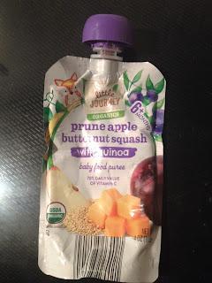 An empty pouch of Little Journey Organics Prune Apple Butternut Squash pouch, from Aldi