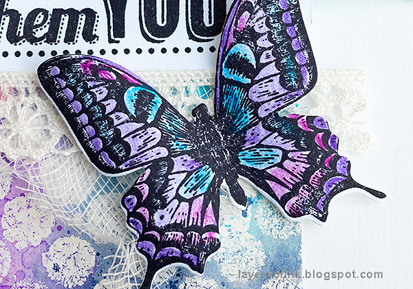 Layers of ink - Mist Resist Tutorial by Anna-Karin Evaldsson. Colored pencil butterfly.