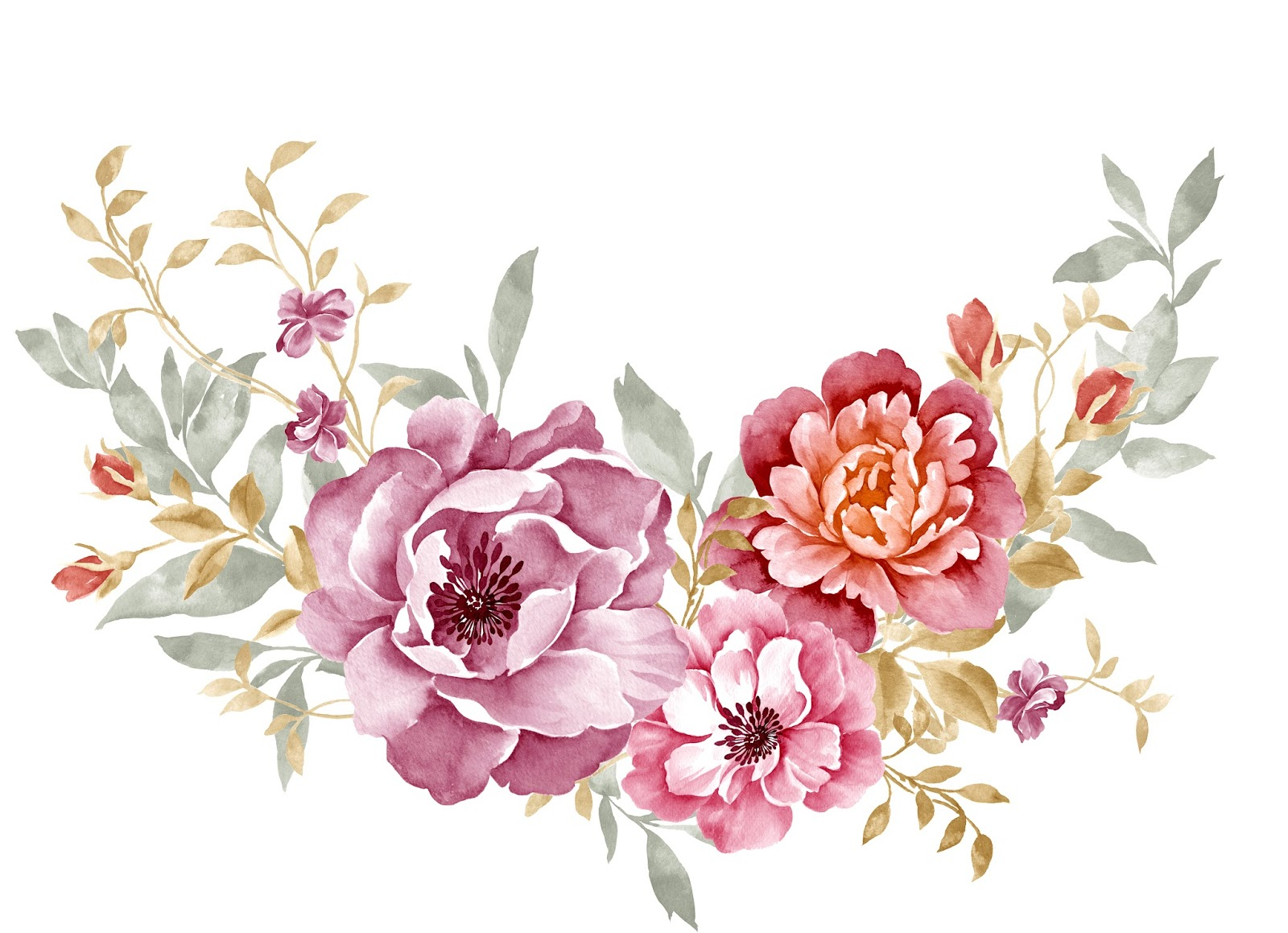 Watercolour Bouquet Of Var Ous Flower Blisse Design Studio