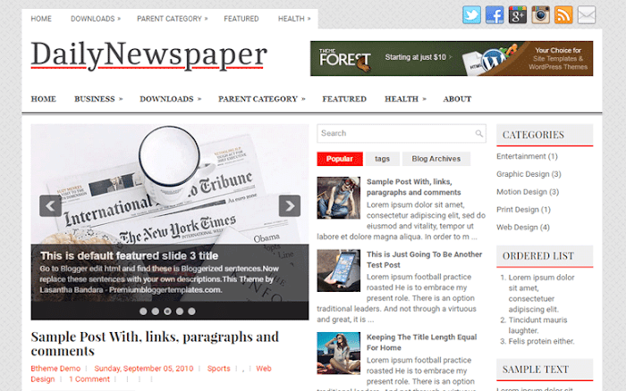 Daily Newspaper blogger template