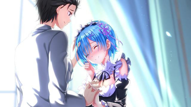 wallpaper rezero rem and subaru