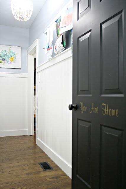 black doors with white beadboard