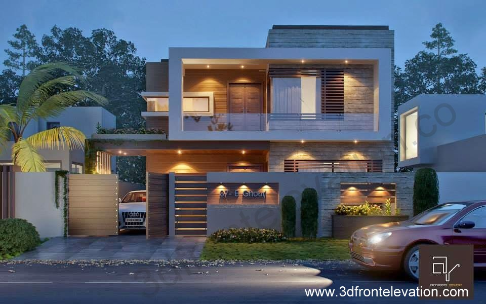 3d front 10 marla modern contemporary front for New homes design pakistan