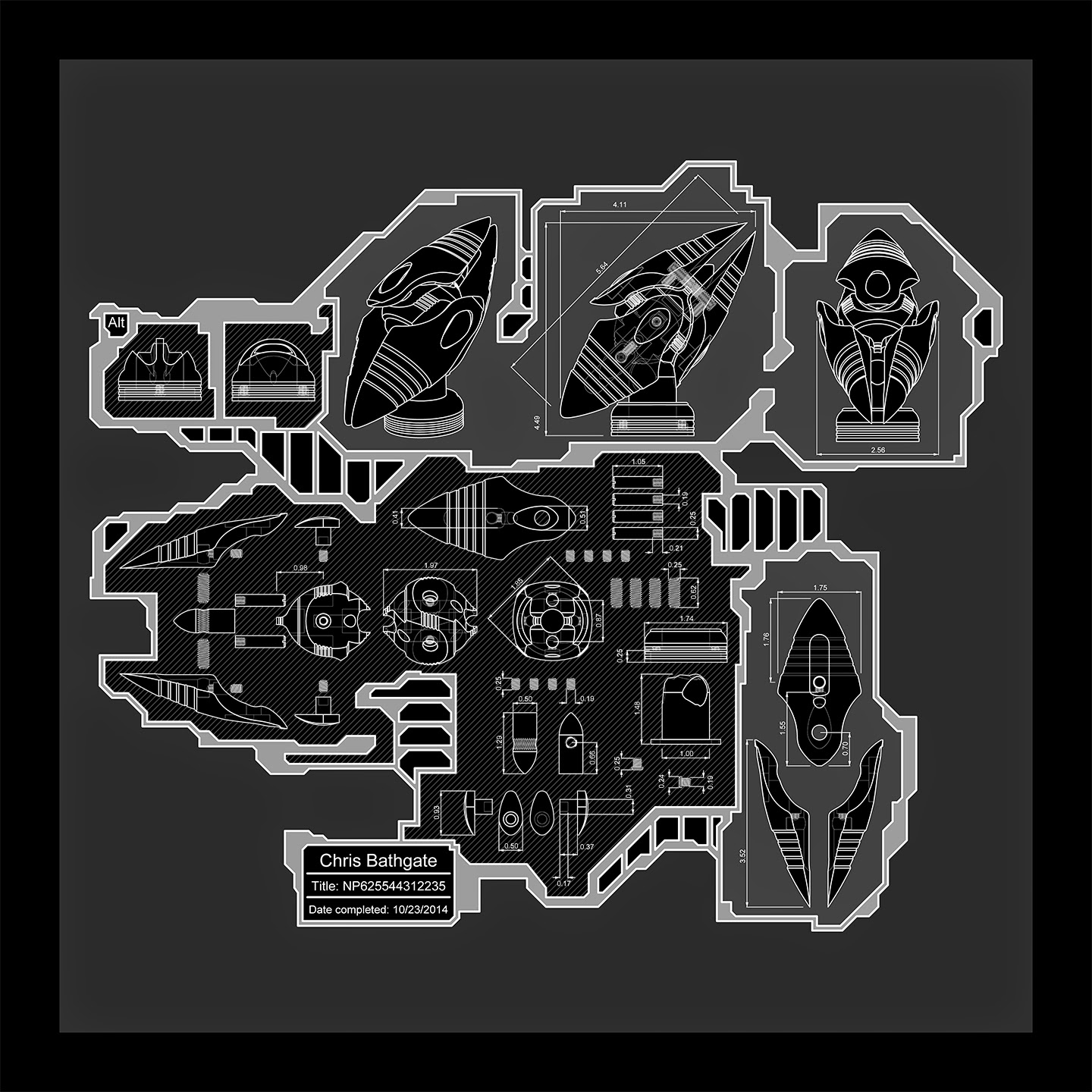 Machine Art, CNC machining, Digital Art, Schematic art, Blueprint art