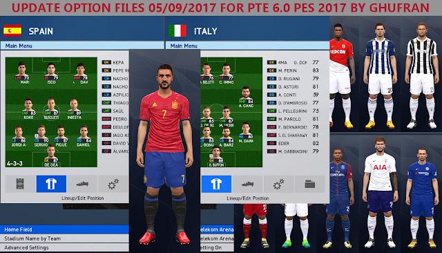 Option File PES 2017 Terbaru untuk PTE 6.0 update 5/9/2017
