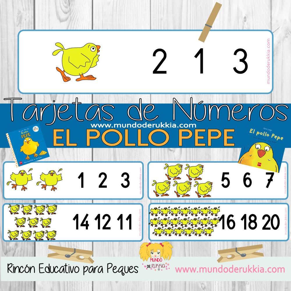 Tarjetas de Números del Pollo Pepe