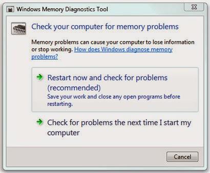 Running Memory Diagnostic Tool in Windows