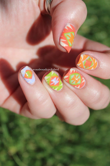 Wondrously Polished April Nail Art Challenge: Wondrously Polished: Bright Southwest Inspired Print