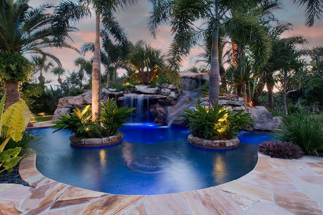 Elegant Pool Landscape design with Waterfall