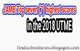 Top seven (7) highest scores in the 2018 UTME
