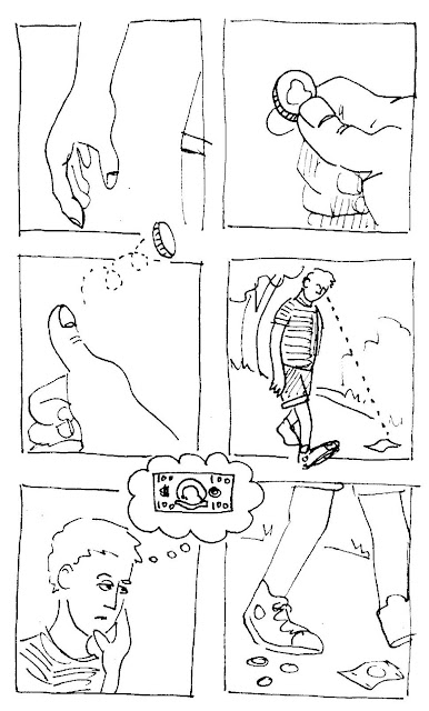 boy discards a quarter. Sees more small change and ignores it. Comic by David Borden