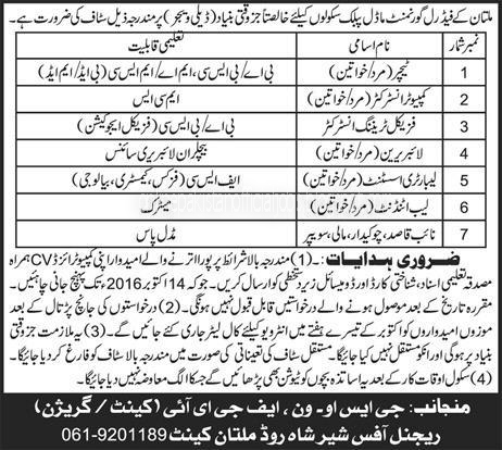 School Job in Federal Govt Model Public Schools Multan