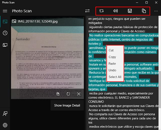 Copiar texto de imágenes y documentos escaneados