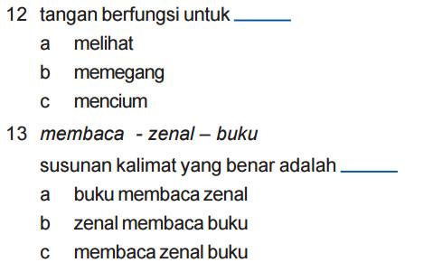 Soal UAS Bahasa Indonesia SD Kelas 1 Semester 1 Terbaru