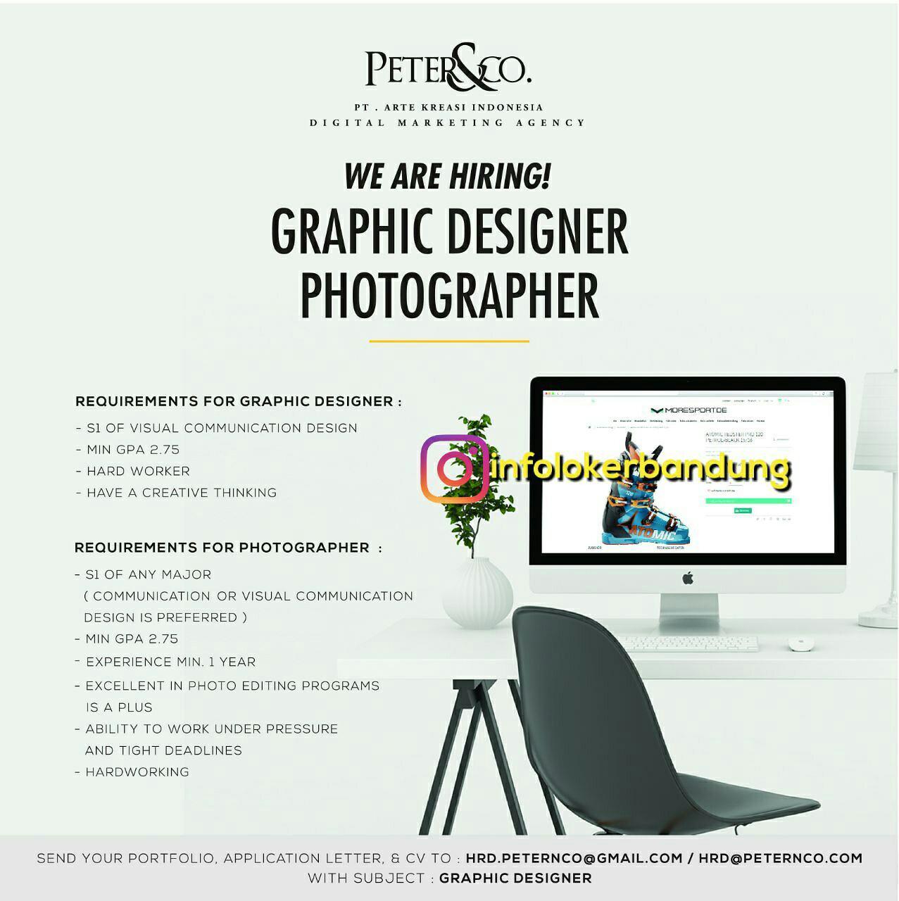 Lowongan Kerja Graphic Deigner & Photographer PT. Arte Kreasi Indoensia ( Peter&Co) September 2017