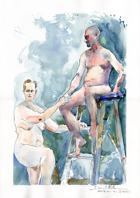 Watercolour of two models by David Meldrum
