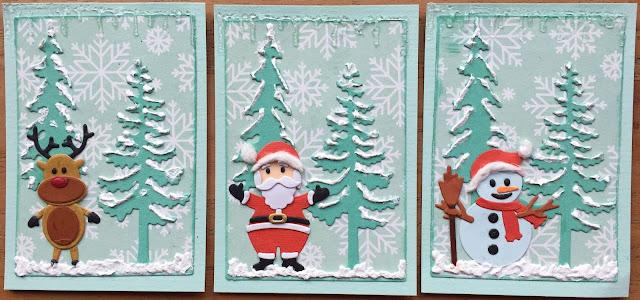 ATC cards Christmas swap Rudolph, Santa, Snowy