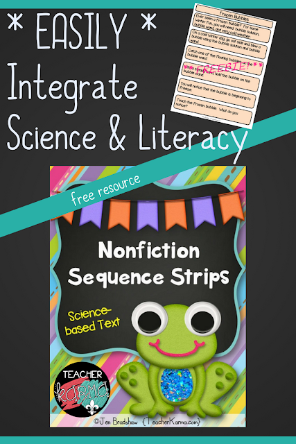 Nonfiction Sequence Strips Center to Integrate Science and Literacy FREEBIE @ TeacherKarma.com