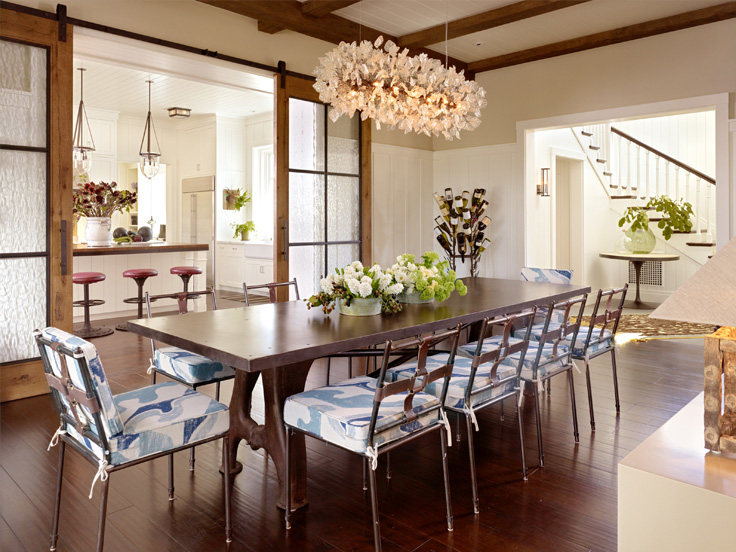 dining area in Napa Valley farmhouse by Ken Fulk in C Magazine
