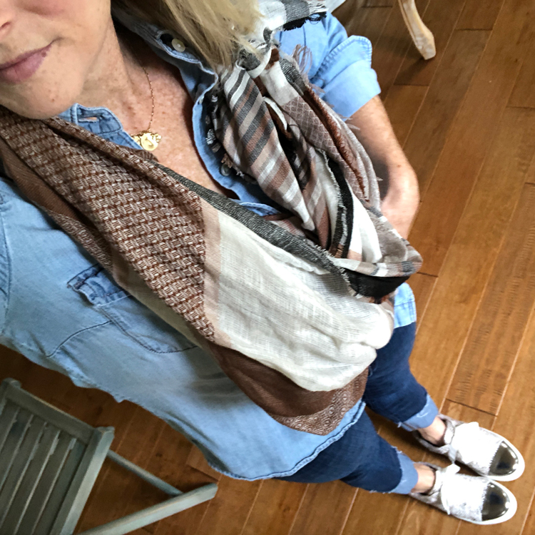 chambray shirt with cuffed jeans and leopard sneakers