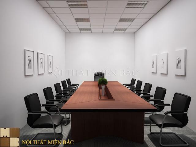 Thiết kế phòng họp hiện đại với chiếc bàn gỗ hình chữ nhật hay những chiếc ghế chân quỳ bọc da màu đen cao cấp