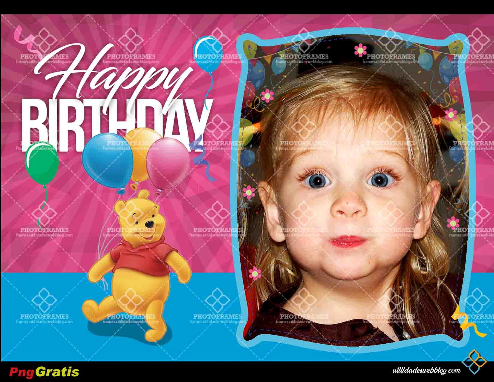 Marco de Winnie Pooh color azul y purpura para fotos de cumpleaños