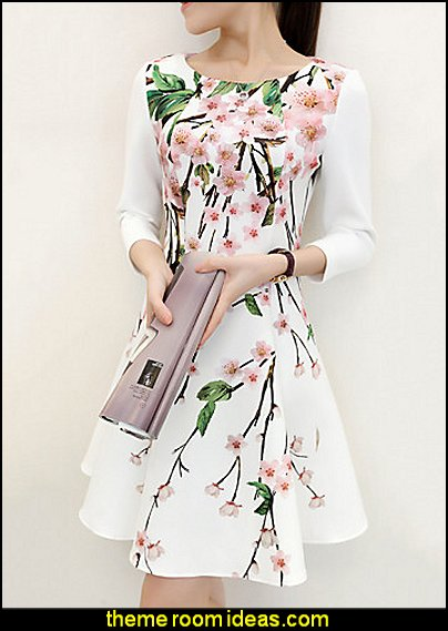 Vintage Floral Print ¾ Sleeve Above Knee Dress  Fashion style clothing - cute designs - modern woman dress style - pretty fashion vintage style - fashion boutique - dresses - tops - jackets -  jeans - pants - party dress - womens clothes - girls clothes - Scarf necklace - decorate yourself