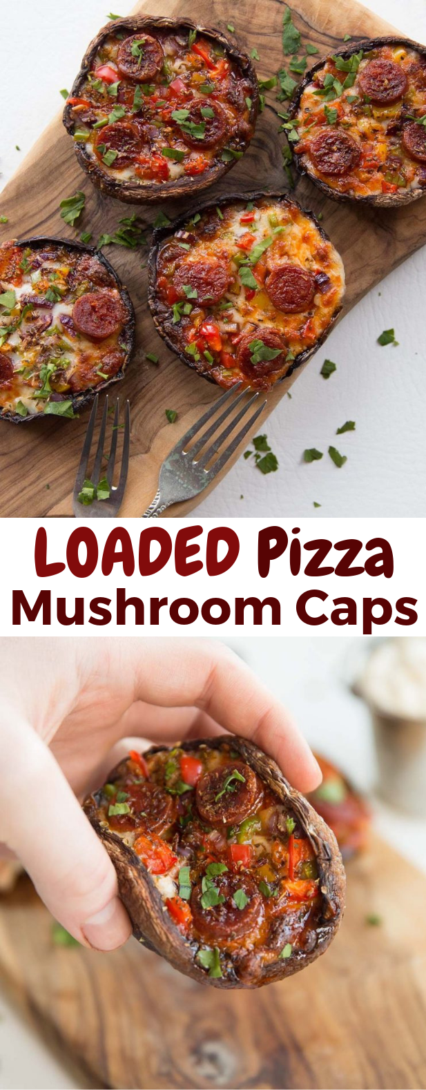 Pizza Stuffed Portobello Mushrooms #Pizza #LowCarb